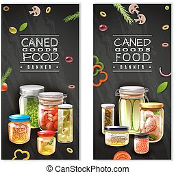 Canned Food Vertical Banners - Vertical banners with canned...
