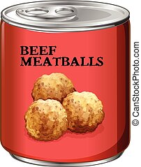 Canned food with beef meatballs illustration