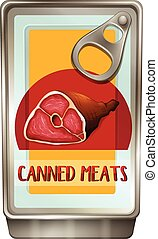 Canned food with meats inside illustration