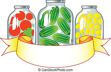 Canned fruits and vegetables in glass jars.
