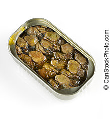 canned, gerookt, oesters