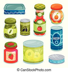 Canned goods, tinned food in a cans, glass jars and metal...