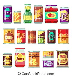 Canned goods vector set. Tinned food, conservation tomato...