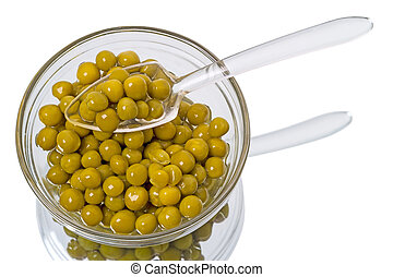 Canned green peas in a dish