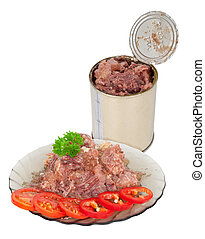 Canned meat on plate