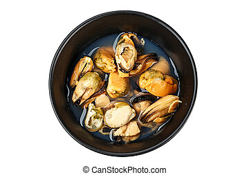 canned mussels in a plate