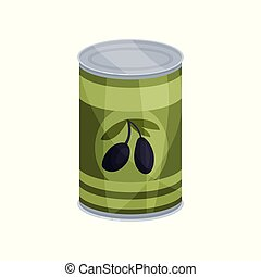 Canned olives, tinned food in aluminum can cartoon vector...