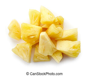 Canned pineapple chunks isolated on white, from above - Heap...