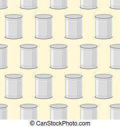 Canned seamless pattern. Background of jars for food.