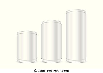 Canned silver, Iron cans silver, Set blank metallic silver beer or soda cans isolated on white, Empty tin drink can template presentation cans 3D, Mock up canister aluminum for design product canned