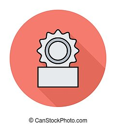 Canned. Single flat color icon on the circle. Vector...