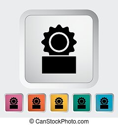 Canned. Single flat icon on the button. Vector illustration.