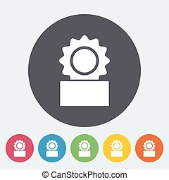 Canned. Single flat icon on the circle button. Vector...