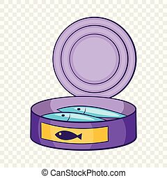 Canned sprats icon, cartoon style