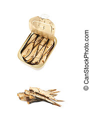 Canned sprats with oil isolated