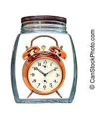 Canned time concept. Retro Alarm Clock preserved in transparent glass jar isolated on white.