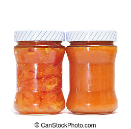 canned tomatoes and sofrito isolated on a white background