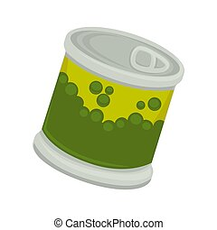Canned vegetable pea in little iron plastic bank with emblem