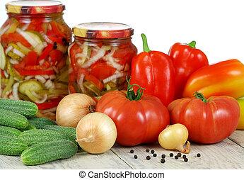 Canned vegetable salad. - Canned salad and fresh vegetables...