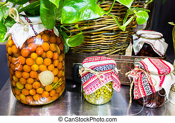 Canned vegetables in jars