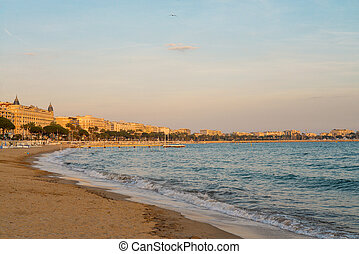 Cannes at sunset with beautiful cityscape, french riviera...