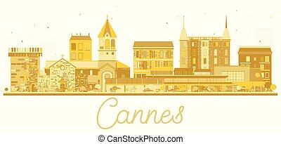 Cannes France City skyline golden silhouette.