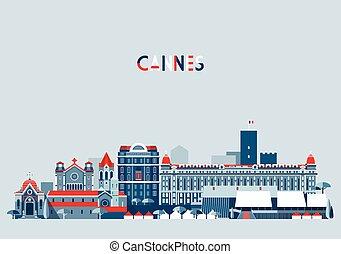 Cannes France City Skyline Vector Background Flat