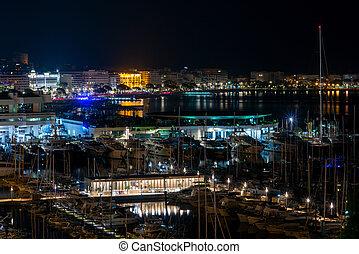 cannes., panorama, notte, città