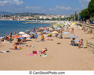 cannes plaża, francja