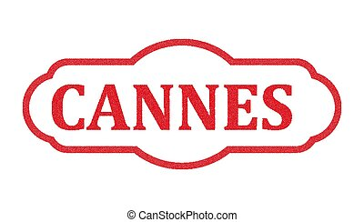 Cannes red stamp text on white
