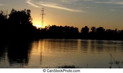 cannes, roseaux, pittoresque, lac, coucher soleil, vert