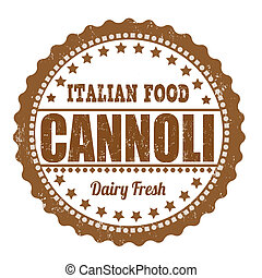 Cannoli grunge rubber stamp on white, vector illustration
