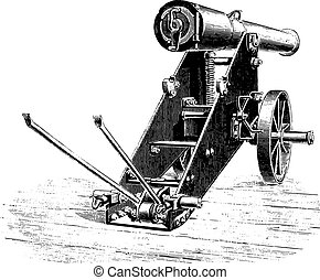 Cannon 138m/m uprising lookout, vintage engraving. - Cannon...
