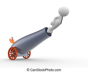 Cannon - 3d people - man, person with a cannon. Businessman