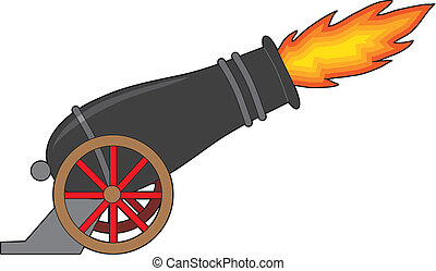 Cannon - A black cannon attached to a wheeled carriage, ...