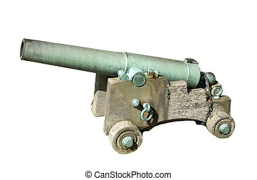 Cannon - Ancient bronze cannon in battery with wooden...