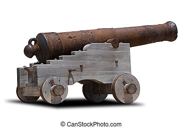 Cannon - Ancient cannon on wheels isolated on white