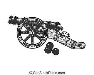 Cannon and cannonball engraving vector illustration. Scratch...