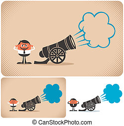 Cannon and cannoneer. The illustration is in 3 versions. No transparency and gradients used.