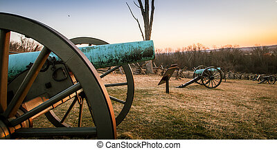 cannon at Gettysburg at sunrise