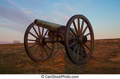 cannon at sunrise in Gettysburg