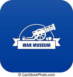 Cannon ball icon blue vector