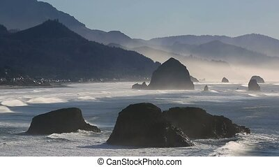 Cannon Beach from Ecola State Park with closeup views of rock formations in OR