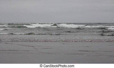Cannon Beach Oregon Waves Closeup - Cannon Beach Oregon at...