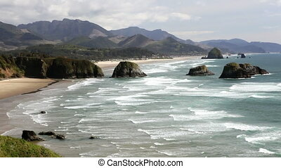 Cannon Beach - View of Haystack rock and Cannon Beach,...