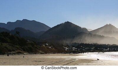 Cannon Beach with oceanfront homes the capes and headlands along Oregon coast HD