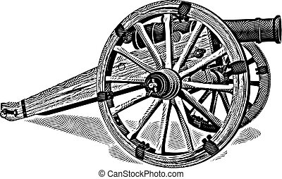 Cannon engraving - image of field-gun of times of American ...