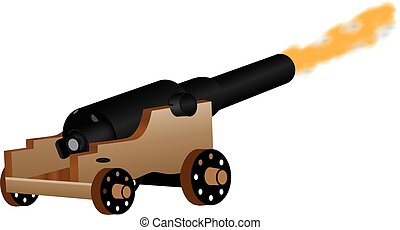 Cannon - An Eighteenth Century Cannon Firing isolated on...