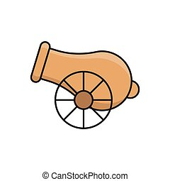 cannon  flat color icon