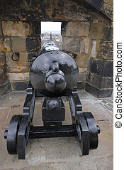 Cannon hidden in the wall - Edinburgh Castle, Scotland